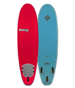 Platino Softboard Surfboard, Red Steel