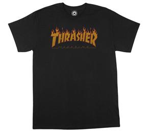 Thrasher Flame Halftone T Shirt, Black