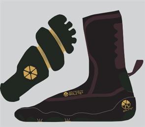Solite Boots 3mm Custom 2.0 Bootie, Black/Gum (Includes Heat Booster Socks)