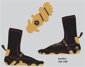 Solite Boots 3mm Custom Omni Pro 2.0 Bootie, Gum/Black (Includes Heat Booster Socks)