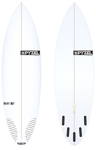 Pyzel Short Cut Board with 5 Future Fins
