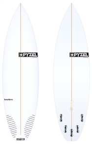 Pyzel Super Grom Board with 5 FCS II Fins