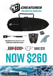 US TM Fish 3mm Foam Lite Bag, 6'0 Pro Leash, Icon Grip, FCS Fins, Wax Combo