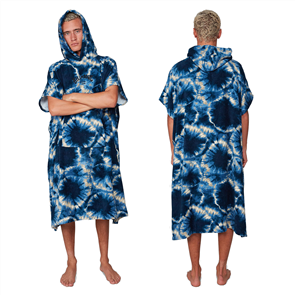 Billabong MENS HOODED TOWEL, BLUE TIE DYE