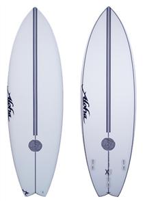 Aloha ALOHAxWOOD TWIN-D Thruster(FCSII) FISH SURFBOARD, CLEAR/BlackStrg XE