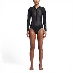Hurley Womens Fusion 2/2mm Long Sleeve Spring Suit, Black