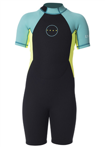 Peak 1.5mm Girls Energy Short Sleeve Spring Suit, Turquoise