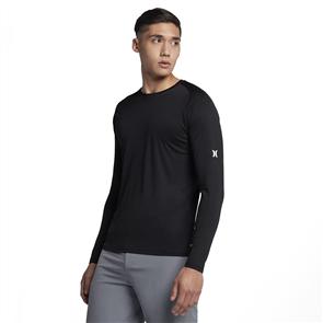 Hurley Icon Quick Dry Long Sleeve Rash Vest, Black