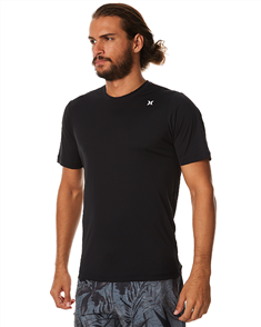 Hurley Icon Surf Short Sleeve Rash Vest, Black