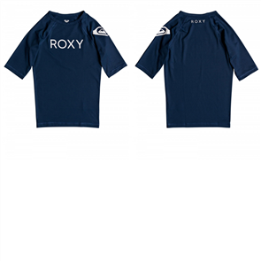 Roxy Funny Waves Girls Short Sleeve Rash Vest, Medieval Blue