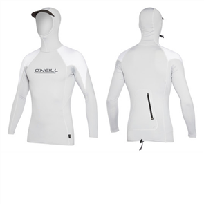 Oneill Premium Skins O' Zone Long Sleeve Rashguard With Hood, Cool Gry Wht