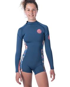 Rip Curl Junior Girl Dawn Patrol Long Sleeve Spring Suit, Blue