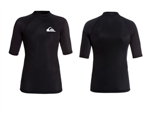 Quiksilver Heater Short Sleeve Youth Rashguard, Black