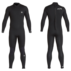 Billabong 4/3mm FURNACE ABSOLUTE BACK ZIP GBS GLUED GRAPHENE LS STEAMER, BLACK