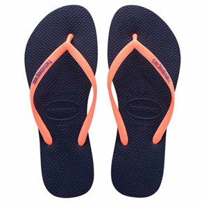 Havaianas Slim Logo Pop-Up Jandal, Navy Blue Coral