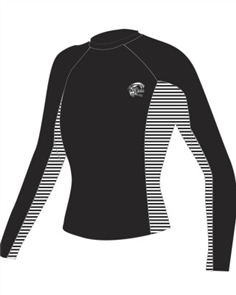 Oneill Womens SKINS Long Sleeve CREW, Black Stripe