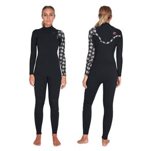 Billabong 3/2Mm Ladies Furnace Carbon Fiber Chest Zip Steamer, Black Print
