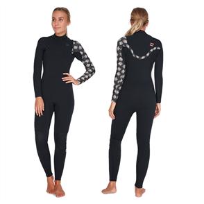 Billabong 4/3Mm Womens Furnace Carbon Chest Zip Full Steamer, Black Print