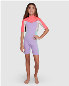 Billabong 2/2MM TEEN SYNERGY BACK ZIP SS FL SPRINGSUIT, BRIGHT ORCHID