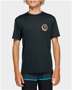 Billabong Boys Sea Shore Loose Fit Short Sleeve Rashguard, Black Heather