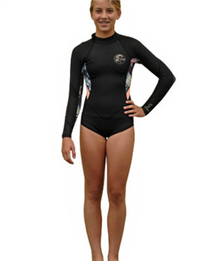 Oneill Girls Bahia Long Sleeve Spring 2Mm Suit, Blk Daf Pec