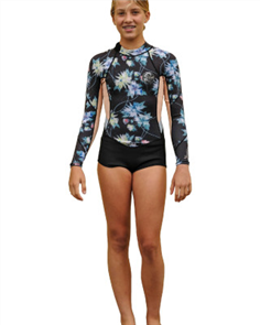 Oneill Girls Bahia Long Sleeve Spring 2Mm Suit, Daf Pec Gdwn Blk