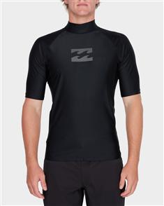 Billabong All Day Wave Surf Shirt Short Sleeve Rashguard, Black