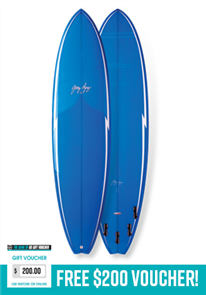 Gerry Lopez Little Darlin PU Five-fin, Blue, 7'0