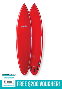 Gerry Lopez Pocket Rocket PU Tri-fin, Red, 6'10