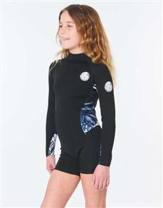Rip Curl Junior Girl Dawn Patrol Long Sleeve Spring Suit, Black/ Navy