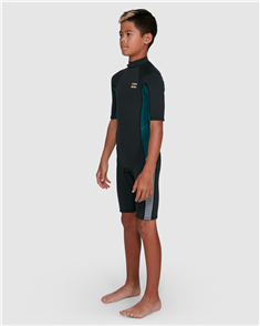 Billabong BOYS 2/2MM ABSOLUTE FL BACK ZIP SS SPRINGSUIT, ANTIQUE BLACK