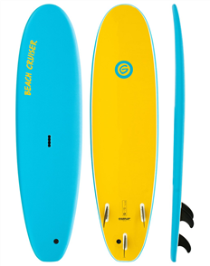 Gnaraloo Beach Cruiser Soft Surfboard, Blue Yellow