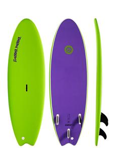 Gnaraloo Flounder Pounder Soft Surfboard, Lime Purple