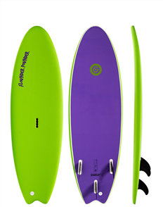 Gnaraloo Flounder Pounder Soft Surfboard, Lime / Purple
