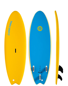 Gnaraloo Flounder Pounder Soft Surfboard, Yellow / Blue