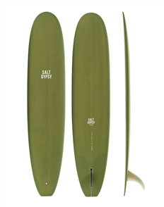 Salt Gypsy Surfboards & SUP Dusty Retro Longboard Olive Tint Surfboard