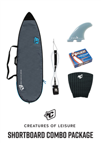 Creatures Of Leisure Shortboard Lite Bag, 6'0 Pro Leash, Panel Grip, FCS Fins, Wax Combo