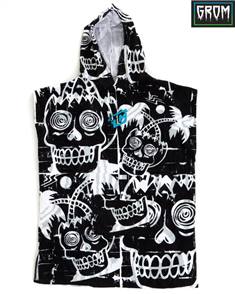 Creatures Of Leisure Grom Hooded 100% Cotton Velour Poncho Towel, Black/ White