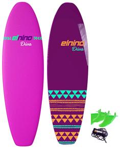 "El Nino Diva - Cruiser Soft Surfboard, 2017-18, Pink, Size 6'6"""