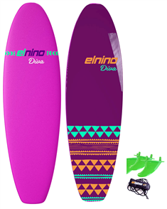 "El Nino Diva - Cruiser Soft Surfboard, 2017-18, Purple/blue, Size 6'6"""