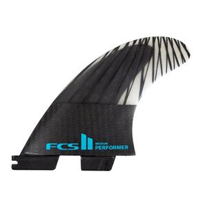 FCS II Performer PC Carbon Medium Black/Teal Tri  Fins