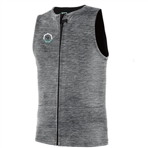 Vissla 2mm Drainer Front Zip Sleeveless Vest, Grey Heather