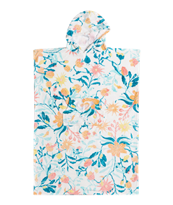 Roxy 100% COTTON TEEN STAY MAGICAL HOODED TOWEL, BRIGHT WHITE KALEIDOSCOPE