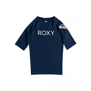 Roxy Funny Waves Girls Short Sleeve Rash Vest, Medieval Blue