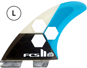 FCS II AM PC Large Teal Tri-Quad Retail Fins
