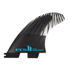 FCS II Performer PC Carbon Large Black/Teal Tri Fins