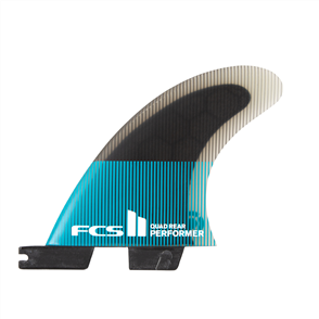 FCS II Performer PC Large Teal/Black Quad Rear Fins