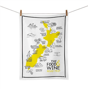 Moana Rd Tea Towel, Food & Wine