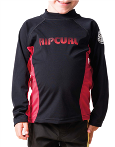 Rip Curl Grom Undertow Long Sleeve Uv Tee, 4019 Black/Red