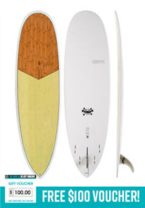 Modern Love Child Epoxy Bamboo Surfboard, Pistachio